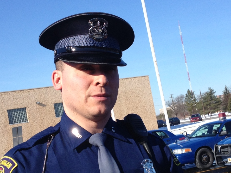 Michigan State trooper Seth Swanson talks about his experience after the I-75 crash, Feb. 6, 2013. (Gina Chung / CTV Windsor)