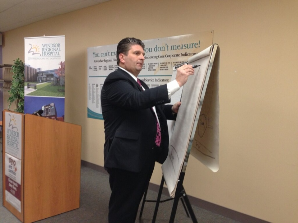 Windsor Regional Hospital CEO David Musyj outlines changes as a result of a $4.2-million funding reduction. (Michelle Maluske / CTV Windsor)