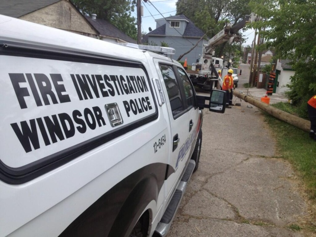 Windsor police investigate a suspicious garage fire at 429 Parent Ave., in Windsor, Ont., on Tuesday, May 21, 2013. (Chris Campbell / CTV Windsor)