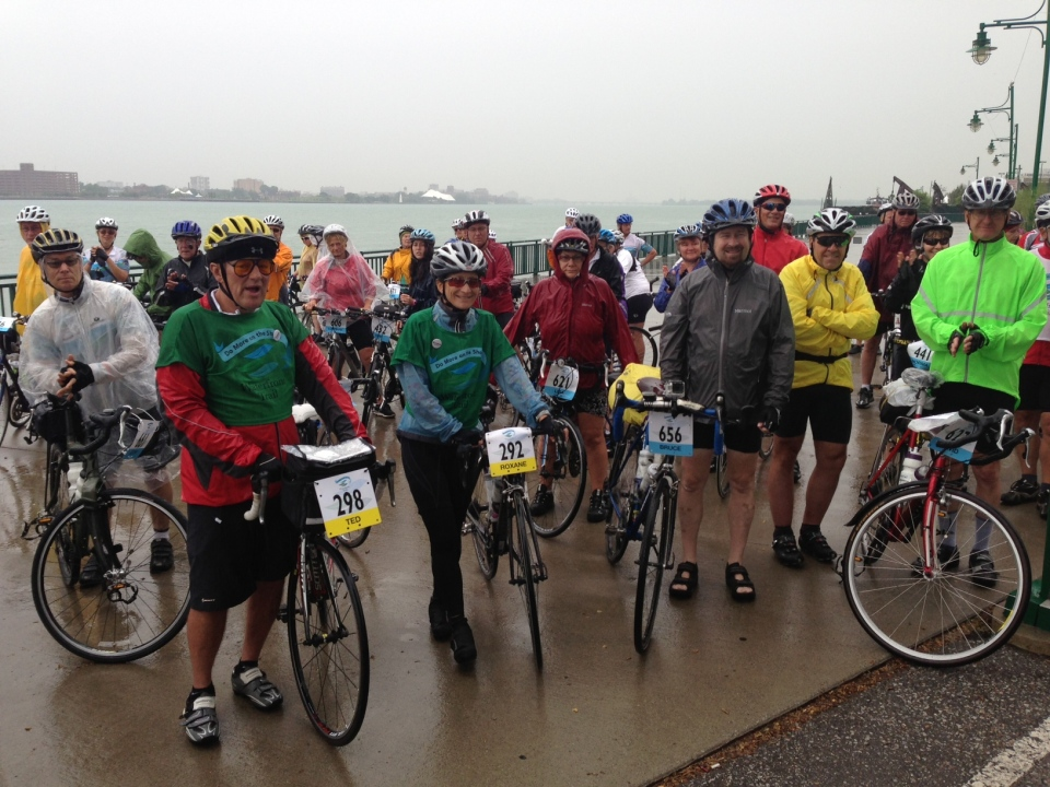 Cyclists celebrate the extension of the Ontario Waterfront Trail in Windsor, Ont., on Monday, Aug. 12, 2013. (Sacha Long / CTV Windsor)