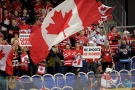 Canada supporters in the stands during the World Junior Hockey Championships quarterfinal between Canada and Switzerland at the Malmo Stadium in Malmo, Sweden on Thursday, Jan. 2, 2014. Canada won the match 4-1 and go forward to the semifinal on Saturday. (AP Photo / TT News Agency / Bjorn Lindgren) SWEDEN OUT