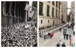 This combination shows a crowd on Wall Street in the May 1945 photo 'V-E Day' by Weegee, provided by the International Center of Photography in New York, and the same vantage point in New York on Wednesday, March 18, 2015. (AP Photo/Copyright Weegee/The International Center of Photography, Mark Lennihan)