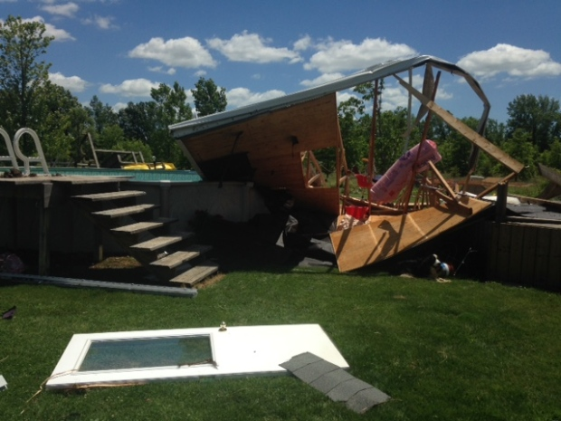 Severe weather rips down trees and damages buildings in Essex County. winds