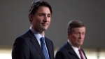 Prime Minister Justin Trudeau holds a news conference with Toronto Mayor John Tory in the rotunda at Toronto City Hall on Wednesday, Jan. 13, 2016. (Chris Young / THE CANADIAN PRESS)