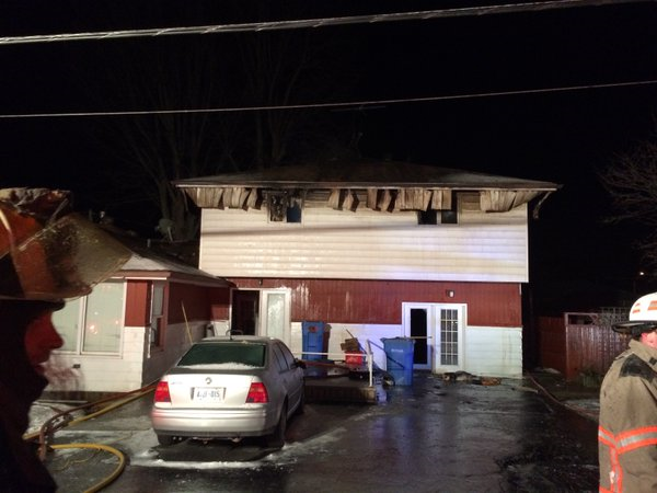 The roof of a home on Nottingham Drive in Essex County is heavily damaged following a fire on Thursday, February 11, 2016. (Courtesy Essex Fire Department)