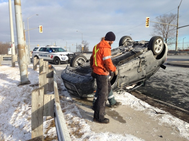 One person was sent to hospital after a rollover on Central Avenue near E.C. Row on Thursday, Feb. 11, 2016. (Chris Campbell / CTV Windsor)