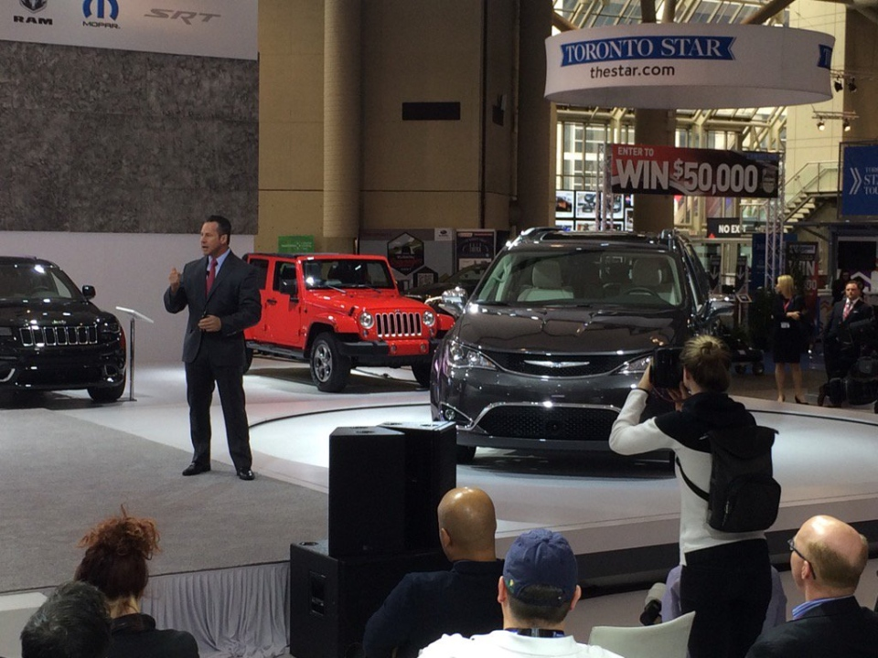 President and CEO of FCA Canada Reid Bigland at the Canadian International Auto Show in Toronto, Ont., on Thursday, Feb. 11, 2016. (Michelle Maluske / CTV Windsor)