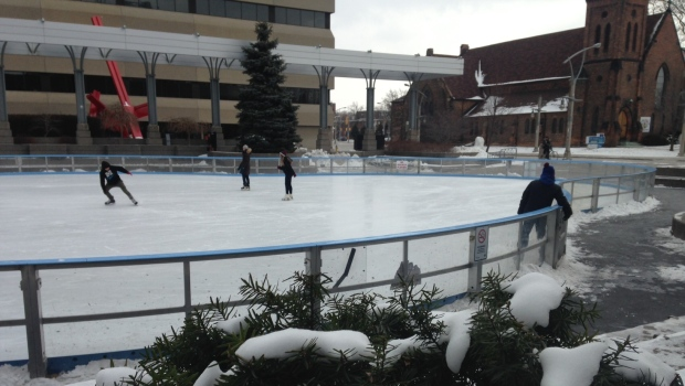 Skaters at the Charles Clark Square on a cold day in Windsor, Ont., on Friday, Feb. 12, 2016. (Chris Campbell / CTV Windsor)