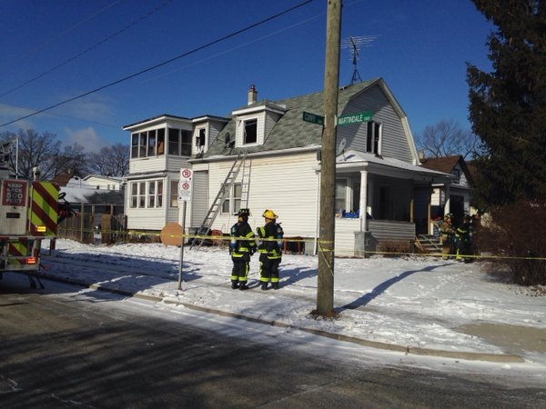 House fire at 395 Curry Ave. in Windsor on Feb. 13, 2016. (CTV Windsor/Alana Hadadean)