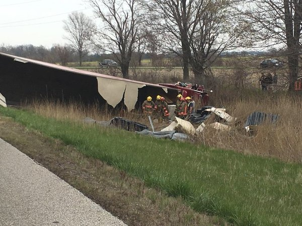 A stretch of Highway 401 was closed following a serious transport rollover on Saturday, April 30, 2016. (Courtesy OPP)