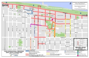 A map of the downtown Windsor road restrictions for the 2016 Ford Fireworks. (Courtesy City of Windsor)