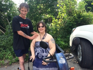 An alleged victim of sexual assault with her scooter in Chatham, Ont., on Friday, July 22, 2016. (Michelle Maluske / CTV Windsor)