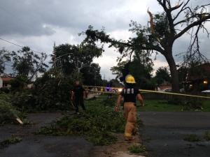 Damage on Victory Street in LaSalle. (Melissa Nakhavoly / CTV Windsor)