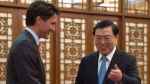 Canadian Prime Minister Justin Trudeau meets with the Chairman of the National Peoples Congress Zhang Dejiang at the Great Hall of the People in Beijing, Thursday September 1, 2016. THE CANADIAN PRESS/Adrian Wyld