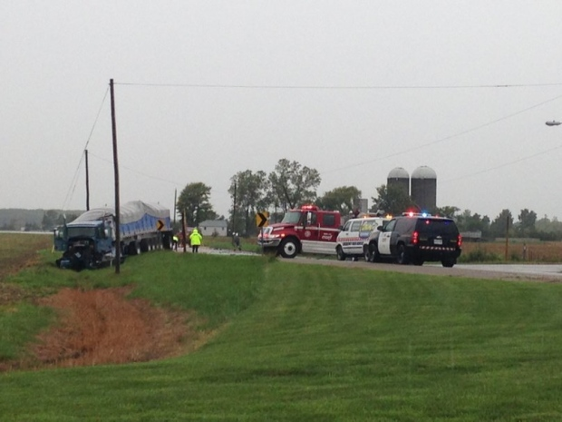 OPP at the scene of a fatal crash on County Road 11 (Walker Road) in Harrow on Monday, Sept. 26, 2016. (Angelo Aversa / CTV Windsor)
