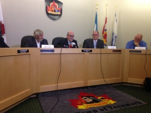 Lakeshore mayor Tom Bain, Tecumseh mayor Gary McNamara and Windsor mayor Drew Dilkens speak about flooding in Tecumseh, Ont., on Friday, Sept. 30, 2016. (Chris Campbell / CTV Windsor)