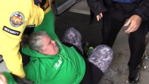 Woman tackled after throwing pumpkin seeds at PM