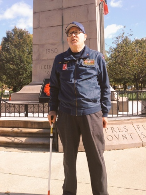 Veteran Kevin Robson stands guard at the downtown Windsor cenotaph on Saturday, October 22, 2016.