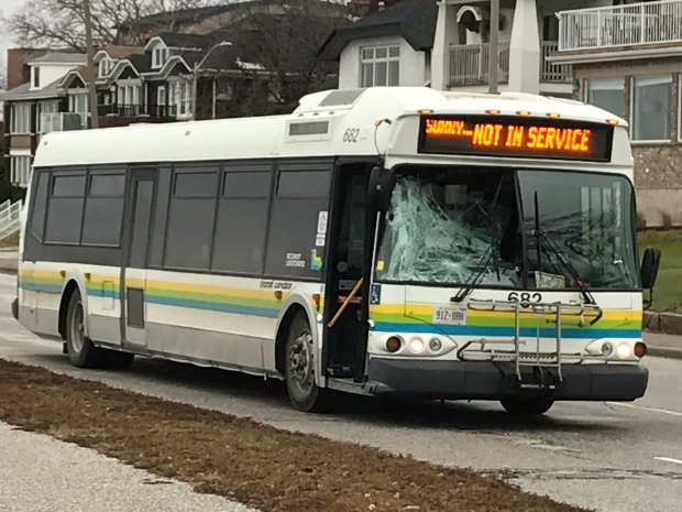 Police say a Transit Windsor bus hit a pedestrian on Riverside Drive on Tuesday, Jan. 24, 2017. (Angelo Aversa / CTV Windsor)