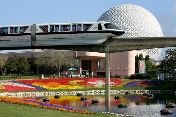 In this March 19, 2009 file photo, a Disney World monorail passes Spaceship Earth at Walt Disney World's Epcot Center in Lake Buena Vista, Fla. (AP / Orlando Sentinel, Joe Burbank, file)