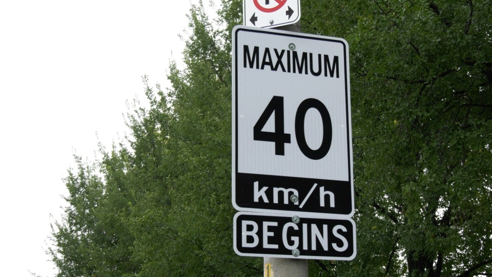 A 40 km/h speed limit sign