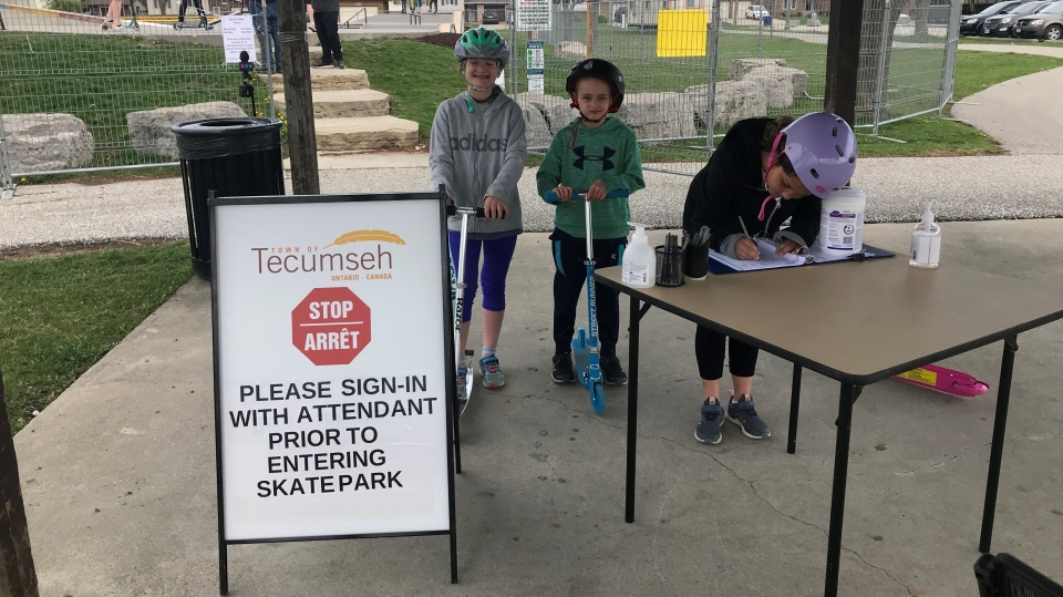 Guests sign in at Tecumseh's skate park